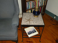 Granite and Black Iron End Table